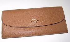Coach Saddle Crossgrain Leather Soft Slim Light Weight Wallet F54008 New NWT$150