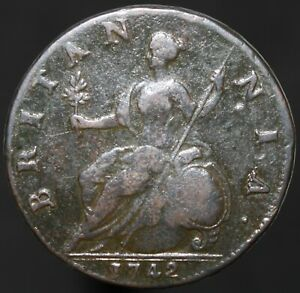 1742-George-II-Half-Penny-Copper-Coins-KM-Coins