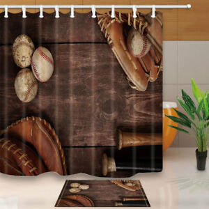 Image Is Loading Old Vintage Baseball Shower Curtain Bathroom Decor Fabric