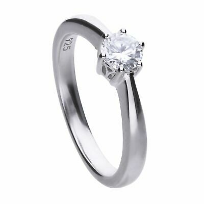 Fine Rings Diamonfire Silver White 6 Claw Solitaire Zirconia Ring R3618 Commodities Are Available Without Restriction