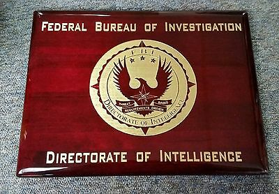 """FBI Directorate of Intelligence Piano Rosewood Signage Plaque w Gold 9""""X12"""""""