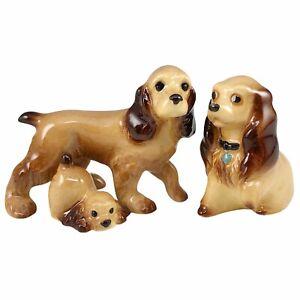 3 Miniature Cocker Spaniel Dog Figurines Hand Painted Porcelain Brown Puppy Vtg