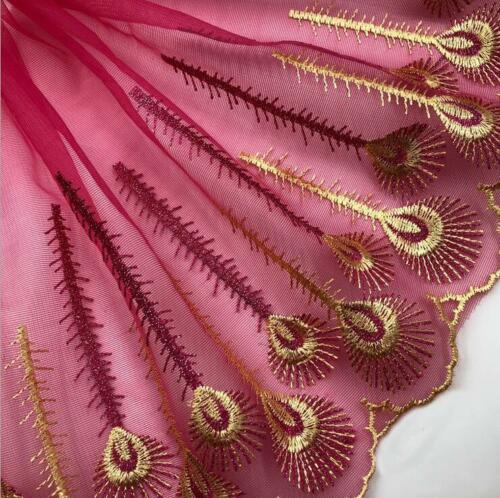 DIY 5Y embroidered peacock feather net yarn lace trim DIY doll Clothing material