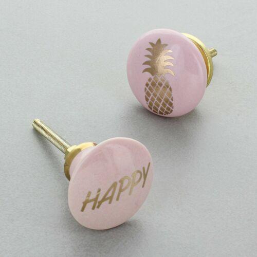 Happy /& Pineapple Ceramic Door Knob by G Decor