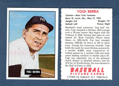 Yankees 1951 Bowman-style//yearbook card issued by TCMA 1982 #8 YOGI BERRA