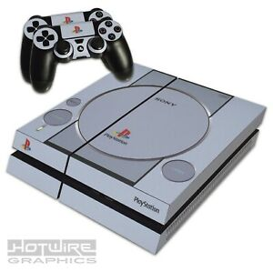 Playstation-4-PS4-Skin-Sticker-Kit-Playstation-One-1-Grey-PS1-Retro-Logos