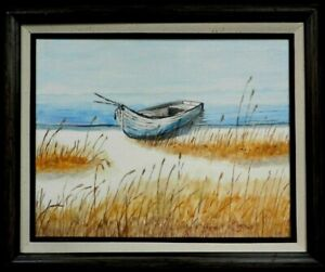 "M. JANE DOYLE SIGNED ORIG.ART OIL/CANV PAINTING ""DONE FISHING"" (SEASCAPE) FRAMED"