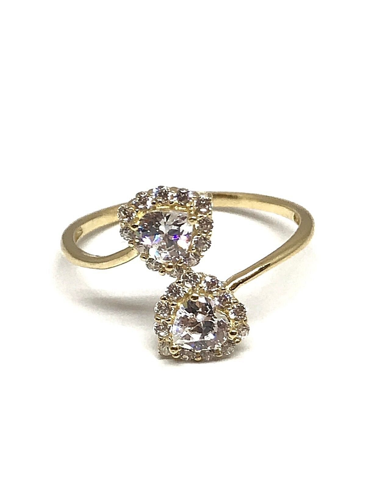 Ring you and me with some hearts set zirconium , gold 375 1000
