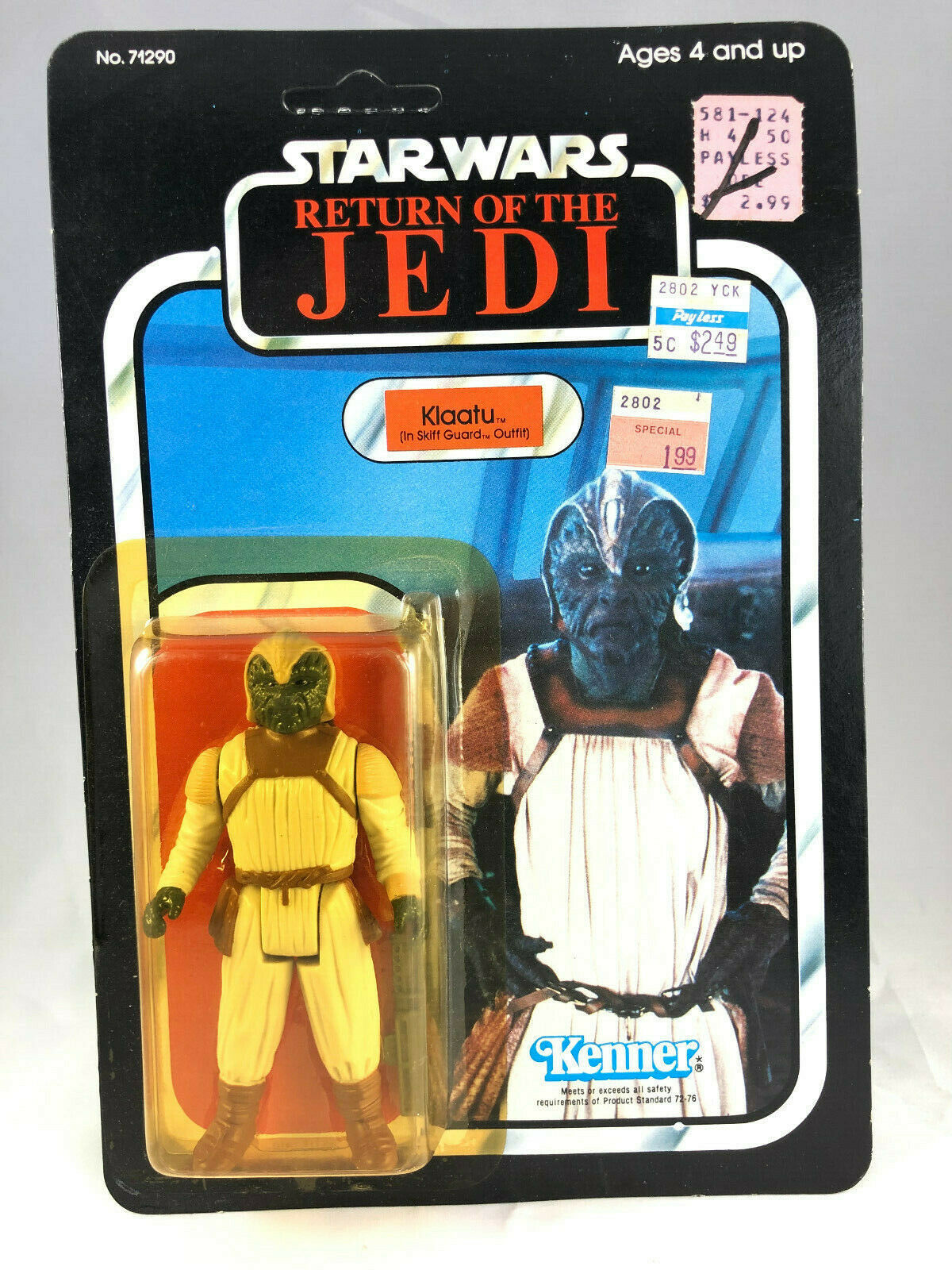 Klaatu Skiff Guard Vintage Kenner 1983 Star Wars redJ 77 Back A MOC COO HK UP