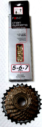 Set 21 Speed Chain Chrome Plated and Screw Crown 7 Compartment Shimano