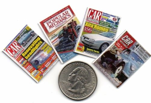 4  Mini /'Car /& Mechanics/'   MAGAZINES Dollhouse  1:12 Scale OPENING PAGES