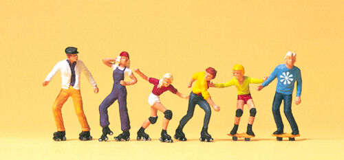 "Preiser 10074 personaggi h0 /""Rollerskate e Skateboard/"" #neu in OVP #"