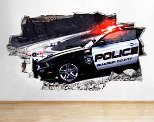 Maison M809 Voiture De Police Road Boys Kids Smashed Applique Murale