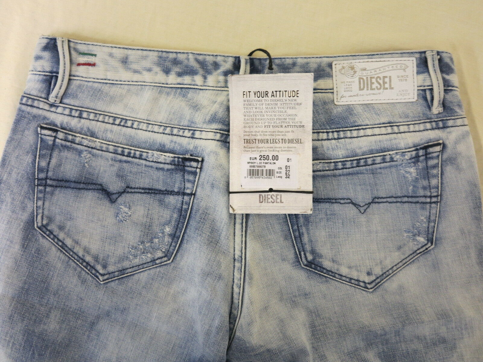 DIESEL MYBOY STRAIGHT LEG LOW WAIST W27 L32 Blau REGULAR SLIM-STRAIGHT ITALY 250