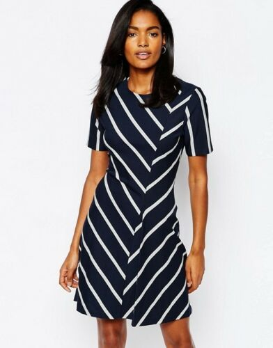 Us Whistles 2 Dress Uk Stripe Jersey Eu 6 34 Blu bianco Chevron 4wrg84q