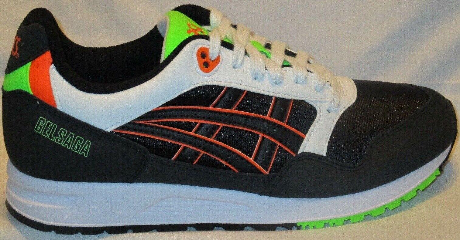 Para Hombre Zapatos Asics Tiger gelsaga Negro Naranja Shoking zapatos talla 9
