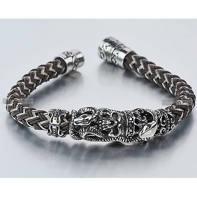 Silver bikies chain stainless steel skull crown snake bracelet chocolate silicon