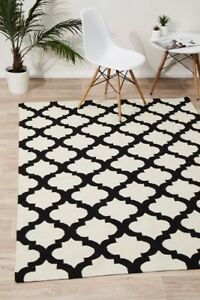 Details About Nadia 15 Black Large Cream Wool Rug Trellis Flatweave Carpet Mat Free Post