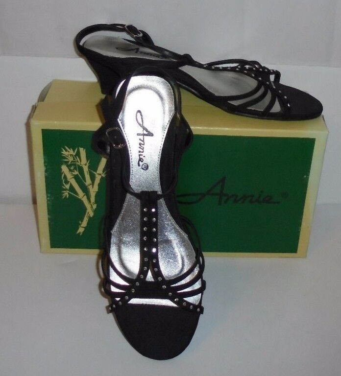 ANNIE BLACK LADIE'S SANDALS-NEW STRAPPY 'SATEEN' SLINGBACK OPEN-TOE SANDALS-NEW LADIE'S WITH BOX-9M 82123d