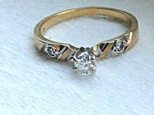 Estate-Find-Vtg-Solid-18k-Yellow-Gold-Plumb-Diamond-Ring