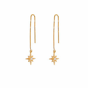 Yellow-Gold-Plated-Sterling-Silver-Starburst-Clear-CZ-Drop-Pull-Through-Earrings