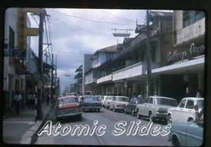 1966-kodachrome-photo-slide-Port-of-Spain-Frederick-street-Trinidad-cars
