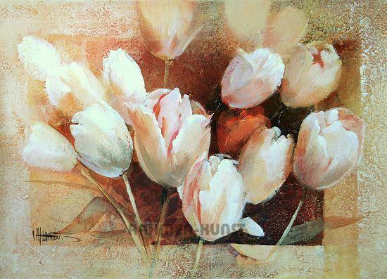 Willem Haenraets  Thea ′s TULIPES Tulipes Tableau prêt 50x70 fleurs