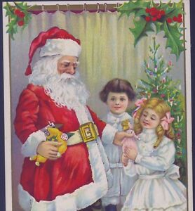CLASSIC SANTA CLAUS GIVES TOY DOLL TO LITTLE GIRL,CHRISTMAS TREE,OLD POSTCARD