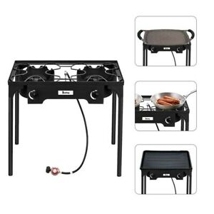 2 Burner 150000 BTU Gas Propane Cooker Outdoor Camping Picnic Stove Stand BBQ Gr