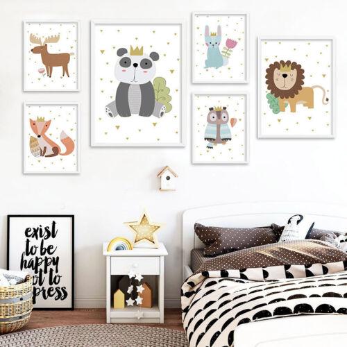 Woodland Animal Lion Owl Canvas Poster Baby Nursery Wall Art Print Bedroom Decor