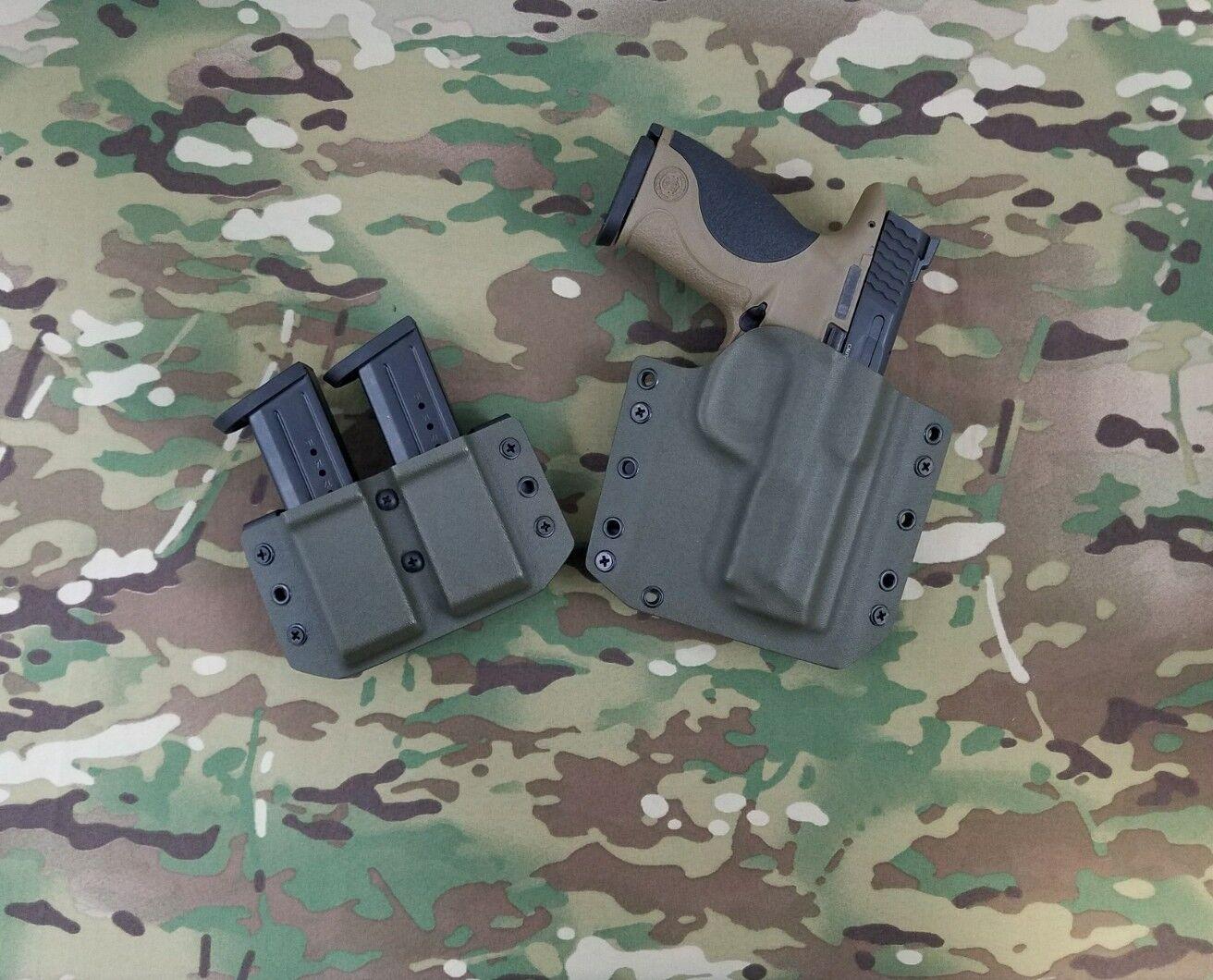 Smith&Wesson M&P Full Größe 9/40 Kydex Kydex 9/40 Holster & Double Mag Pouch OWB OD Grün 749d1c