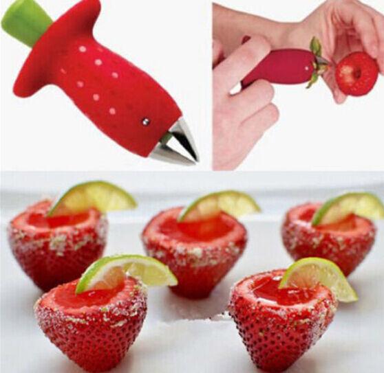 Strawberry Berry Stem Gem Leaves Huller Remover Fruit Corer Kitchen Tool RED