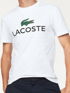 6b095373 Details about Lacoste Graphic Logo T-Shirt in White