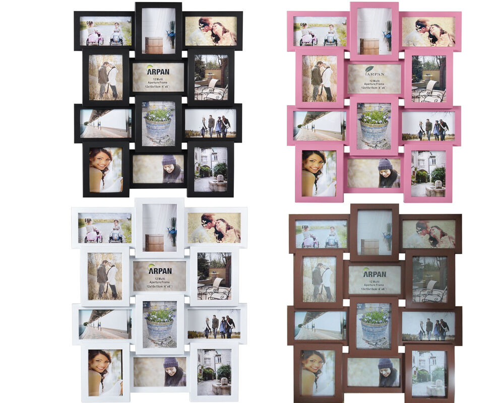 WHITE, BLACK, BROWN PHOTO PICTURE FRAME HOLDS 12 PHOTOS APERTURE ...