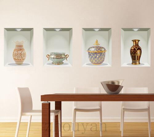 RETRO JAR REALSTIC VINTAGE 3D EFFECT FAUX ANTIQUE CHINA VASE PANEL Wallpaper