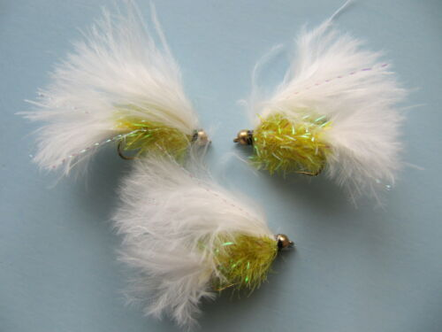 3 X GOLD HEAD WHITE//YELLOW FRITZ CATS WHISKER SIZE 10 LONG SHANK LURES FGH51