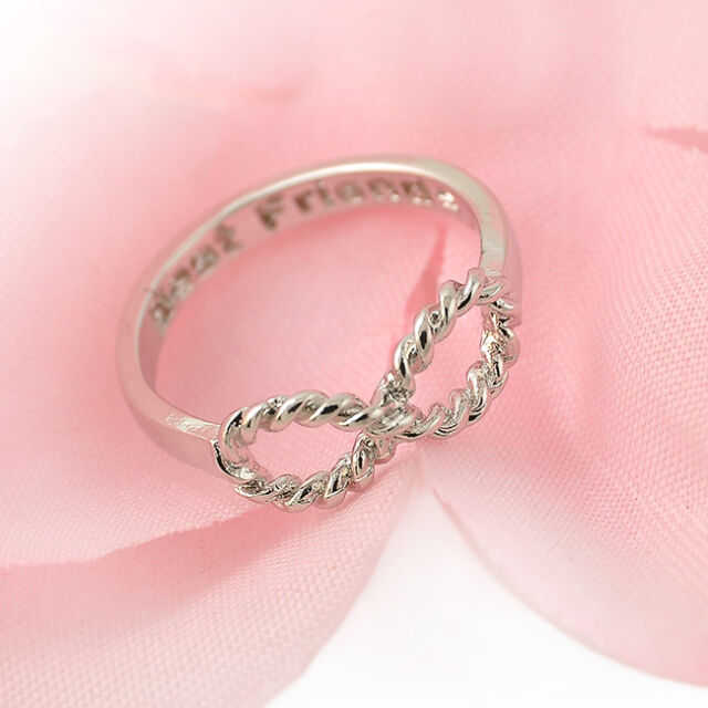 Lucky 8 Best Friends Engraved Friendship Infinity Ring Women Jewelry Gift Gold