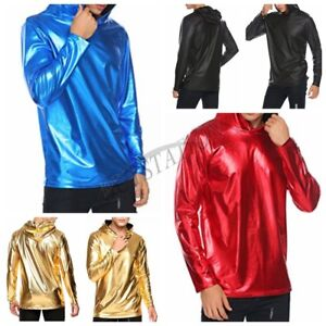Men-039-s-Metallic-Shiny-Hoodies-Tops-Shirt-Casual-Long-Sleeve-Pullover-Top-Costume