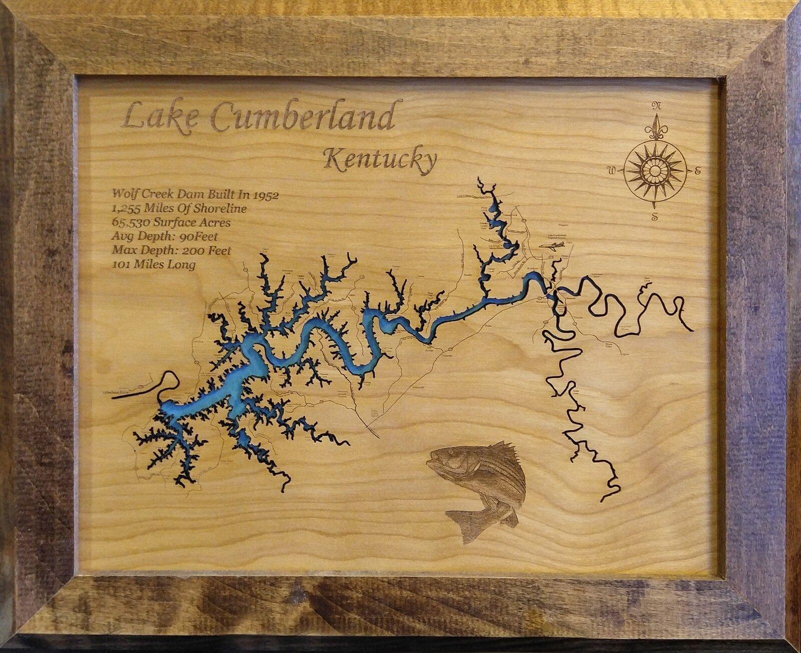 Lake Cumberland KY laser cut wood map