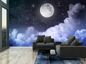 Night Sky Moon Clouds Stars Dark Wall Mural Photo Wallpaper Giant Wall Decor Ebay