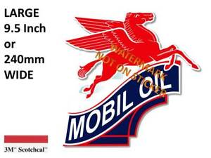 VINTAGE-MOBIL-OIL-PEGASUS-GASOLINE-PETROL-DECAL-STICKER-LABEL-240mm-WIDE