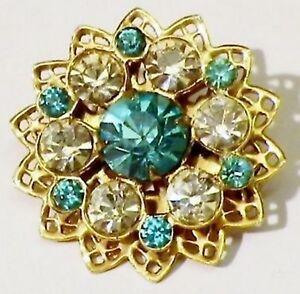 SystéMatique Broche Couleur Or Rosace Ajourée Cristal Bleu Topaze Diamant Bijou Vintage 75 Les Clients D'Abord