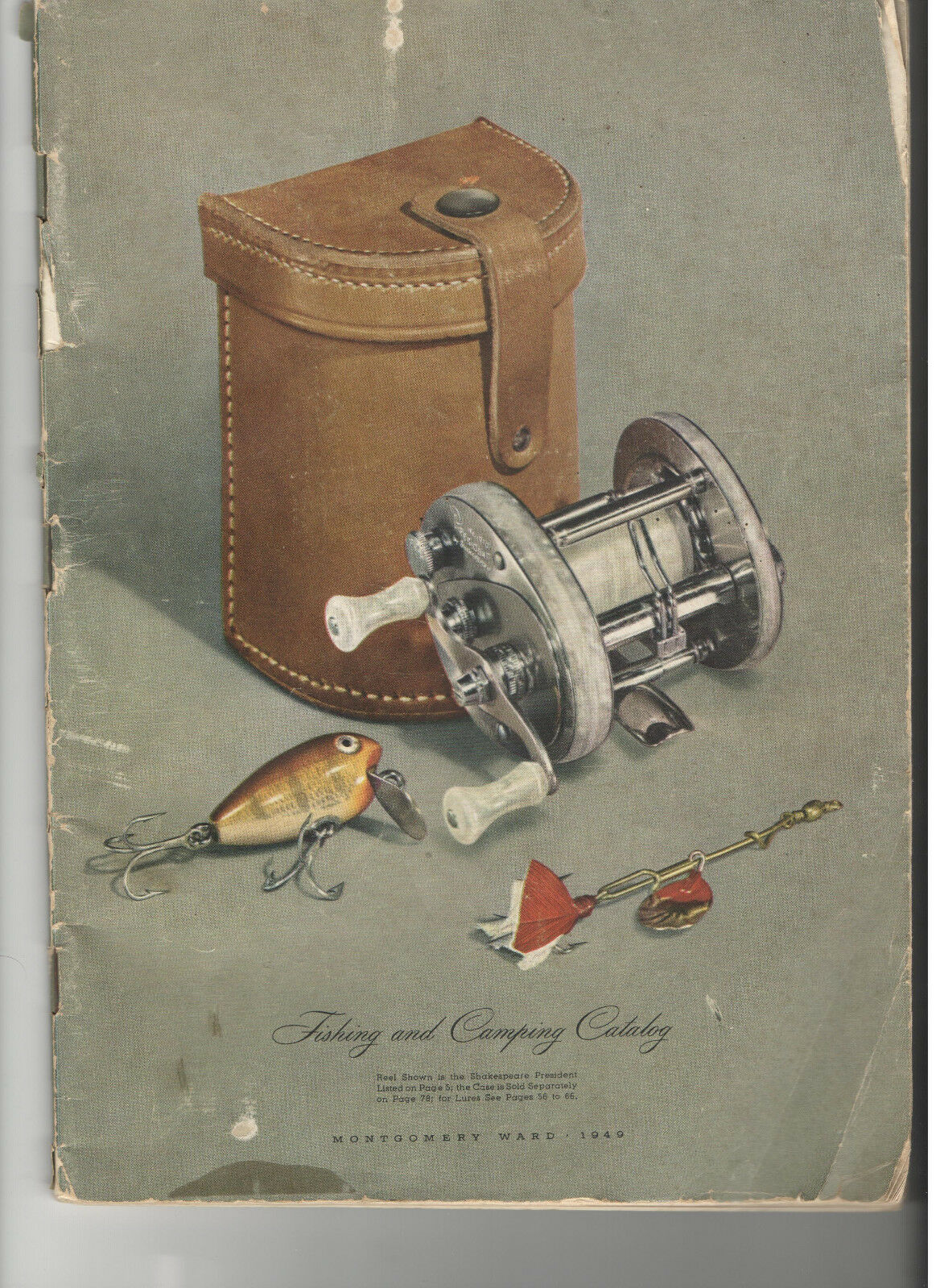 VINTAGE 1949 MONTGOMERY WARD FISHING & CAMPING CATALOG  LURES REELS RODS KNIVES