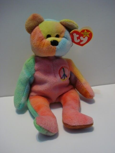 TY Beanie Baby Peace Bear made with RARE RARE RARE PVC Pellets Plush Toy 37ad6d
