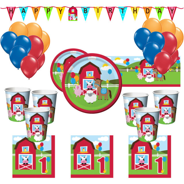 Farm Fun Boys & Girls Deluxe 1st First Birthday Party Kits, Plates, Cups Napkins