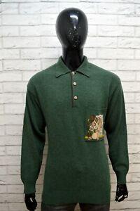 ICEBERG-Maglione-Uomo-Pullover-Maglia-Taglia-XL-Sweater-Cardigan-Lana-Verde