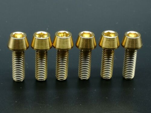 6pcs M6x18mm Titanium Ti Bike Stem Gold Bolts Taper Head Bicycle Conical