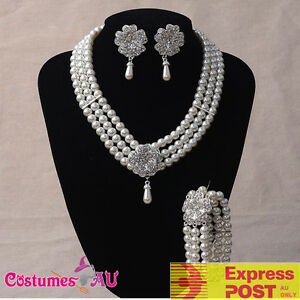 Image is loading 1920s-20s-Necklace-Bracelet-Earings-Set-Gatsby-Flapper- 9819beaac3