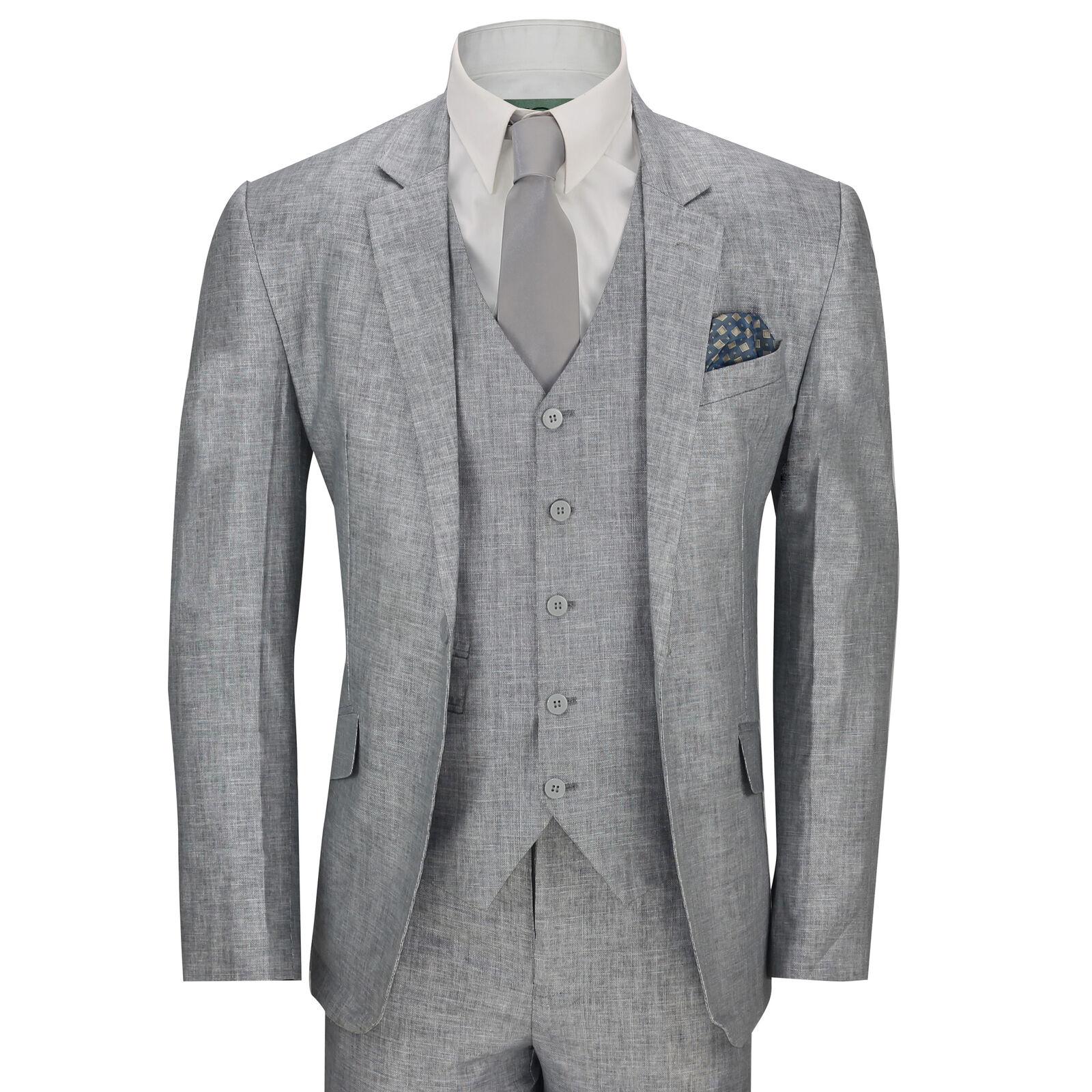 New  Herren Grau 3 Piece Cotton Linen Blend TailoROT Fit Vintage Suit Smart Casual