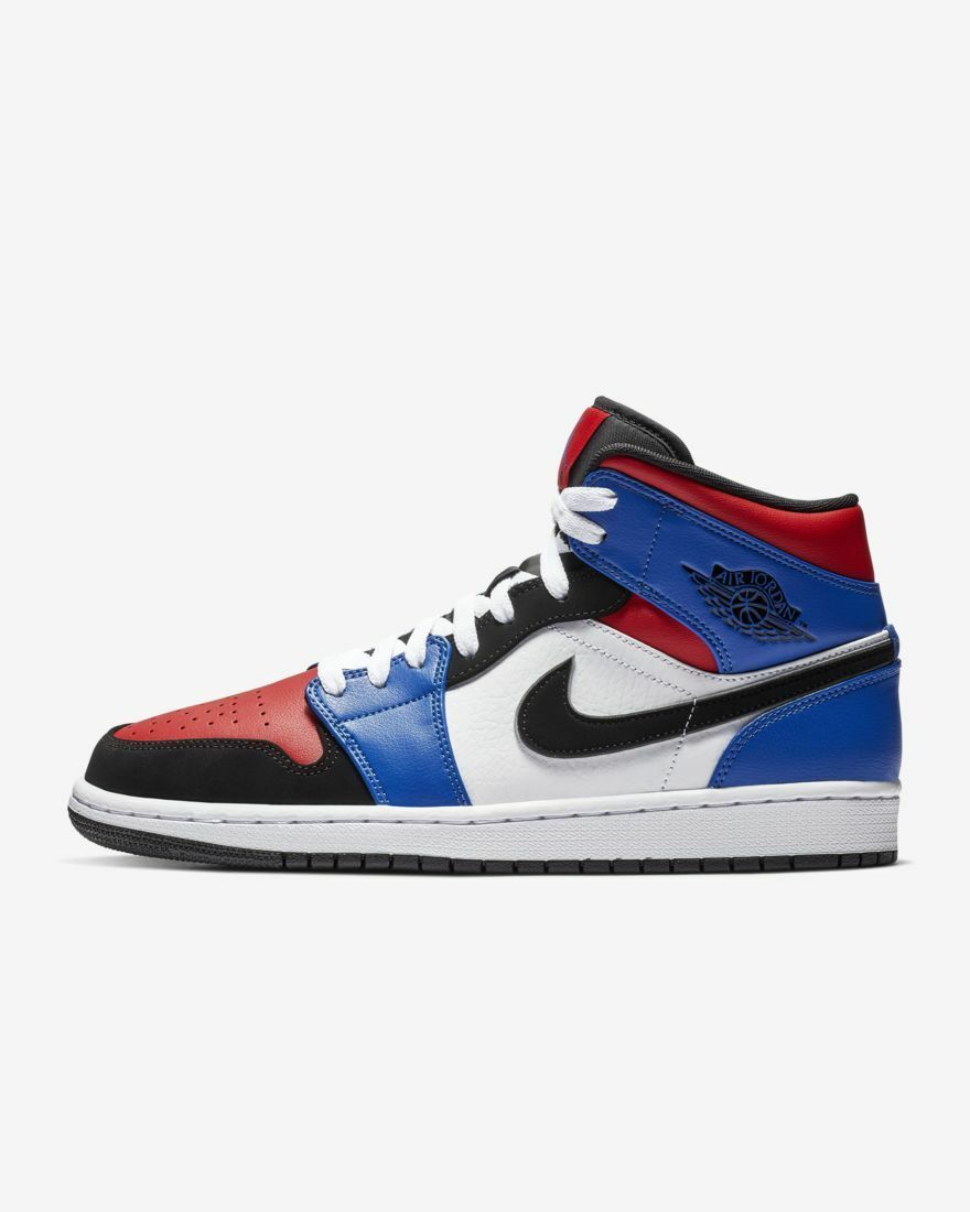 NIKE NIKE NIKE AIR JORDAN 1 MID TOP 3 THREE 554724-124 bianca HYPER ROYAL UNIVERSITY rosso 1bf5fa